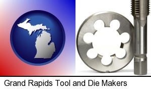 a metal die and a screw tap, isolated on a white background in Grand Rapids, MI