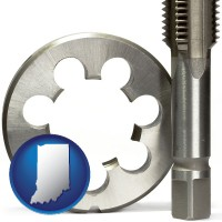 indiana a metal die and a screw tap, isolated on a white background
