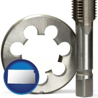 kansas a metal die and a screw tap, isolated on a white background