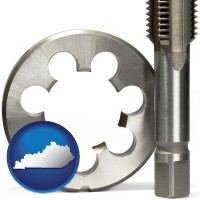 kentucky map icon and a metal die and a screw tap, isolated on a white background