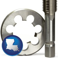 louisiana a metal die and a screw tap, isolated on a white background