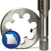 missouri map icon and a metal die and a screw tap, isolated on a white background