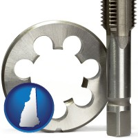 new-hampshire map icon and a metal die and a screw tap, isolated on a white background