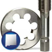 new-mexico map icon and a metal die and a screw tap, isolated on a white background