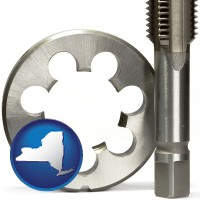 new-york a metal die and a screw tap, isolated on a white background