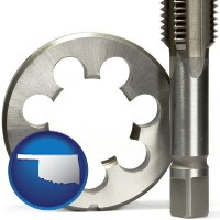 oklahoma map icon and a metal die and a screw tap, isolated on a white background