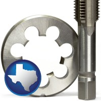 texas a metal die and a screw tap, isolated on a white background