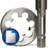 utah map icon and a metal die and a screw tap, isolated on a white background