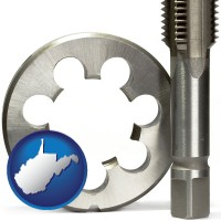 west-virginia map icon and a metal die and a screw tap, isolated on a white background