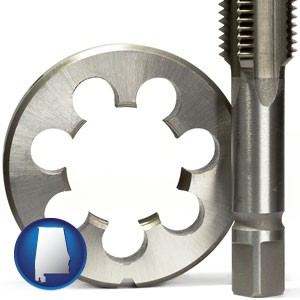 a metal die and a screw tap, isolated on a white background - with Alabama icon