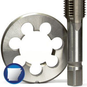 a metal die and a screw tap, isolated on a white background - with Arkansas icon