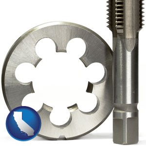 a metal die and a screw tap, isolated on a white background - with California icon