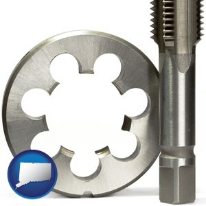 a metal die and a screw tap, isolated on a white background - with Connecticut icon
