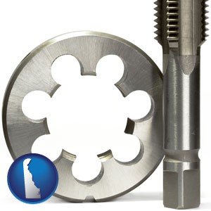 a metal die and a screw tap, isolated on a white background - with Delaware icon