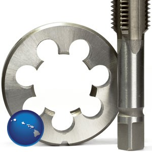 a metal die and a screw tap, isolated on a white background - with Hawaii icon