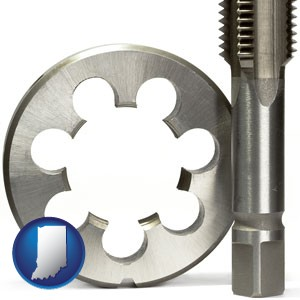 a metal die and a screw tap, isolated on a white background - with Indiana icon