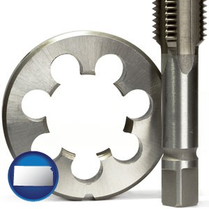 a metal die and a screw tap, isolated on a white background - with Kansas icon