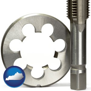 a metal die and a screw tap, isolated on a white background - with Kentucky icon