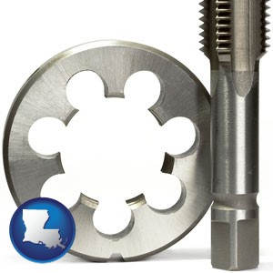 a metal die and a screw tap, isolated on a white background - with Louisiana icon