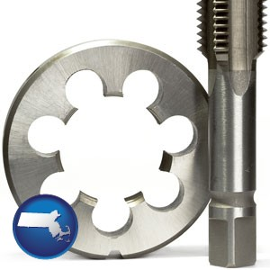 a metal die and a screw tap, isolated on a white background - with Massachusetts icon