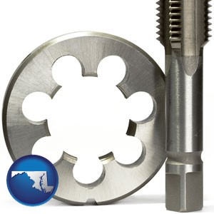 a metal die and a screw tap, isolated on a white background - with Maryland icon