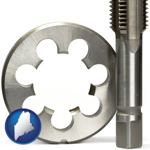 a metal die and a screw tap, isolated on a white background - with Maine icon