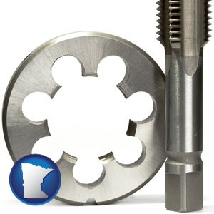 a metal die and a screw tap, isolated on a white background - with Minnesota icon