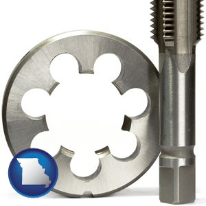 a metal die and a screw tap, isolated on a white background - with Missouri icon