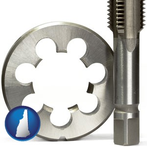 a metal die and a screw tap, isolated on a white background - with New Hampshire icon