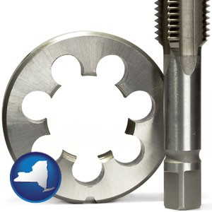 a metal die and a screw tap, isolated on a white background - with New York icon