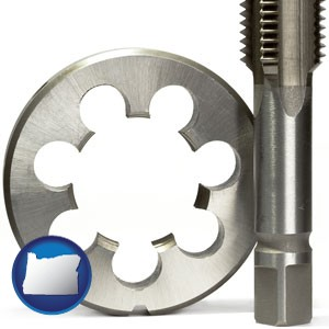a metal die and a screw tap, isolated on a white background - with Oregon icon