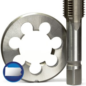 a metal die and a screw tap, isolated on a white background - with Pennsylvania icon