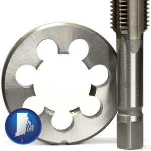 a metal die and a screw tap, isolated on a white background - with Rhode Island icon