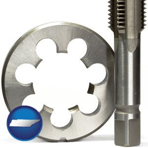 a metal die and a screw tap, isolated on a white background - with Tennessee icon