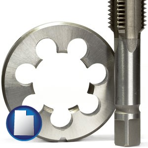 a metal die and a screw tap, isolated on a white background - with Utah icon