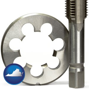 a metal die and a screw tap, isolated on a white background - with Virginia icon
