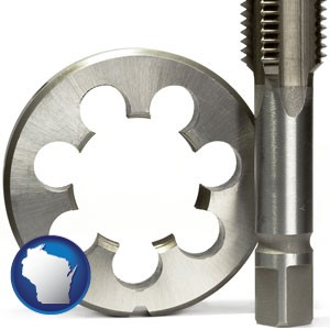 a metal die and a screw tap, isolated on a white background - with Wisconsin icon