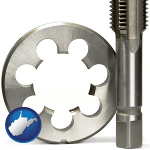 a metal die and a screw tap, isolated on a white background - with West Virginia icon